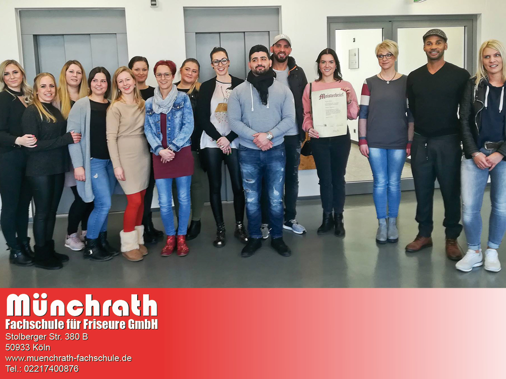 Friseur-Meisterschule KursTeilnehmer Münchrath Fachschule für Friseure Stolberger Str 380 B 50933 Köln