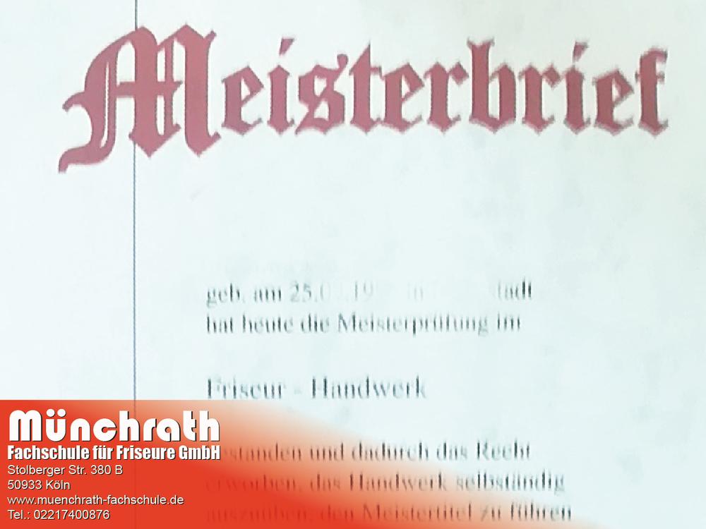 Friseurmeisterin 2018 Münchrath Fachschule für Friseure Stolberger Str 380 B 50933 Köln